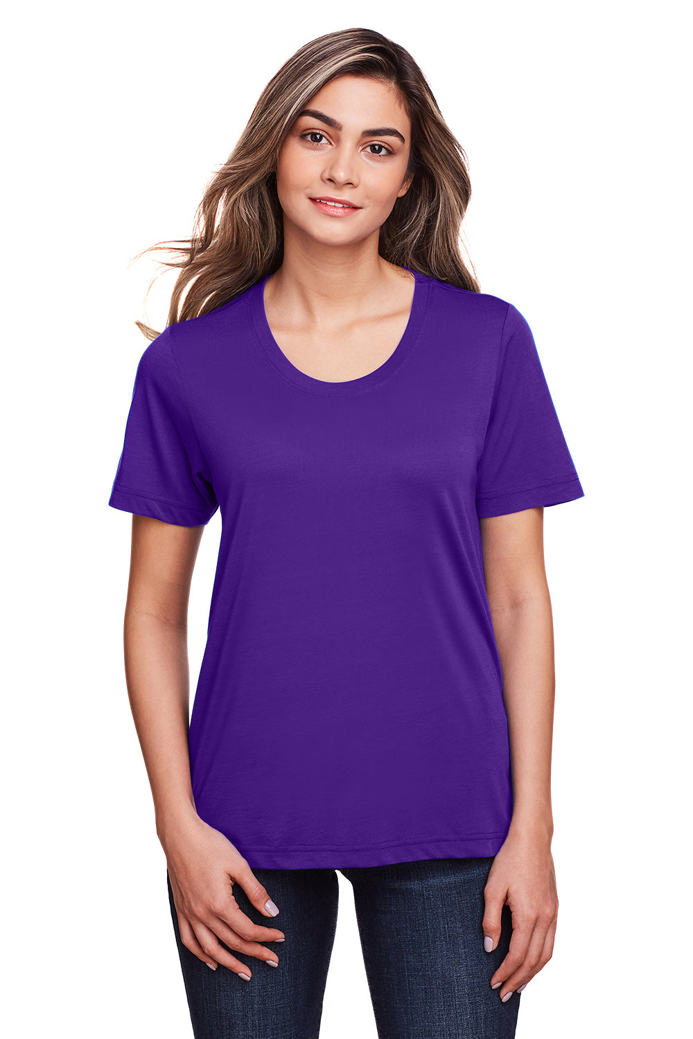 Core 365 CE111W Womens Fusion ChromaSoft Performance Moisture Wicking Short Sleeve Scoop Neck T-Shirt Purple Front