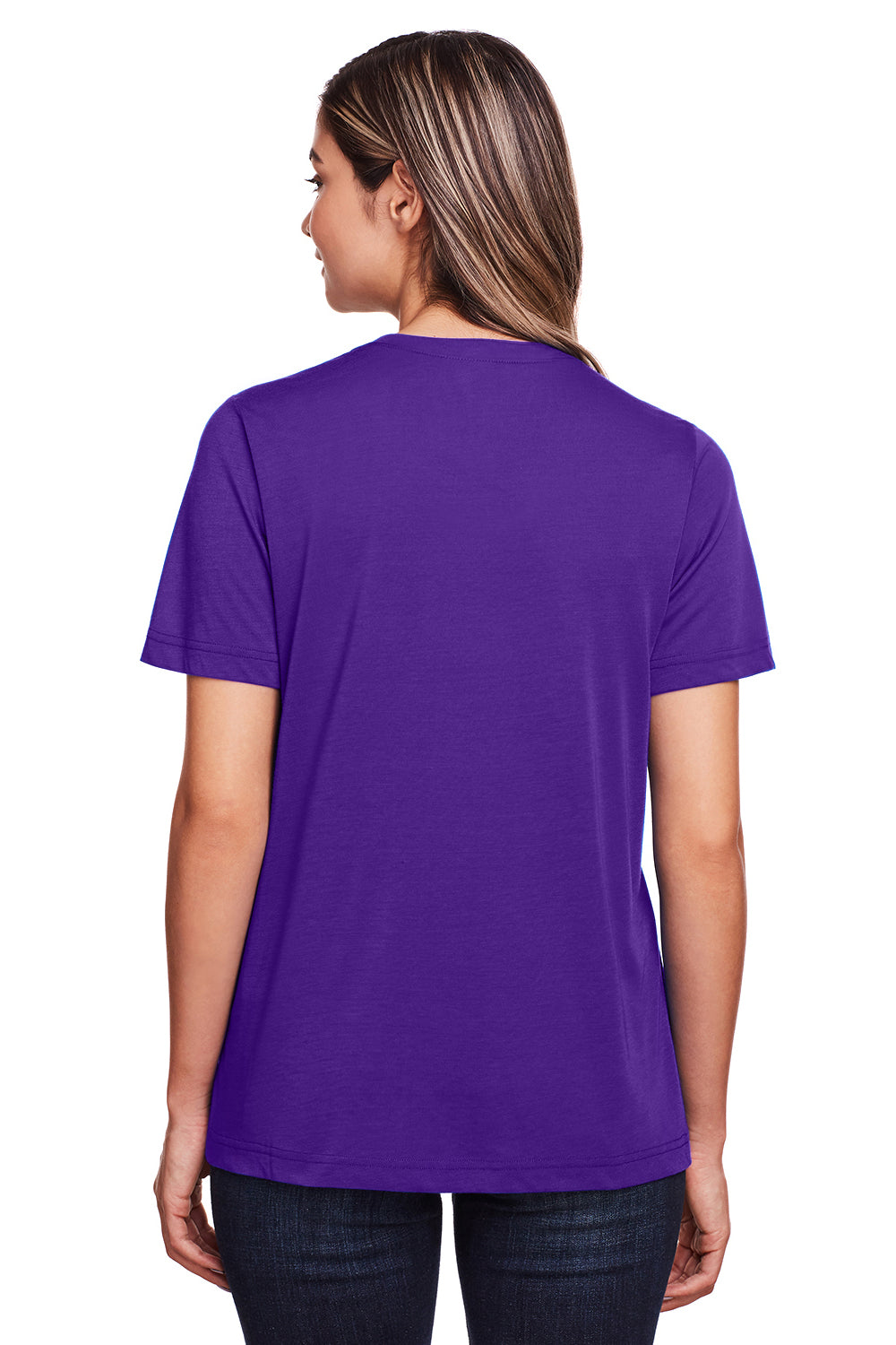 Core 365 CE111W Womens Fusion ChromaSoft Performance Moisture Wicking Short Sleeve Scoop Neck T-Shirt Purple Back