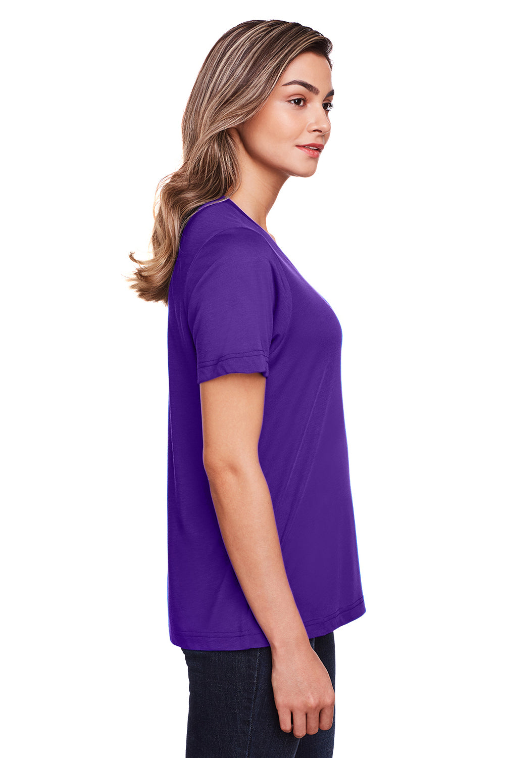 Core 365 CE111W Womens Fusion ChromaSoft Performance Moisture Wicking Short Sleeve Scoop Neck T-Shirt Purple Side
