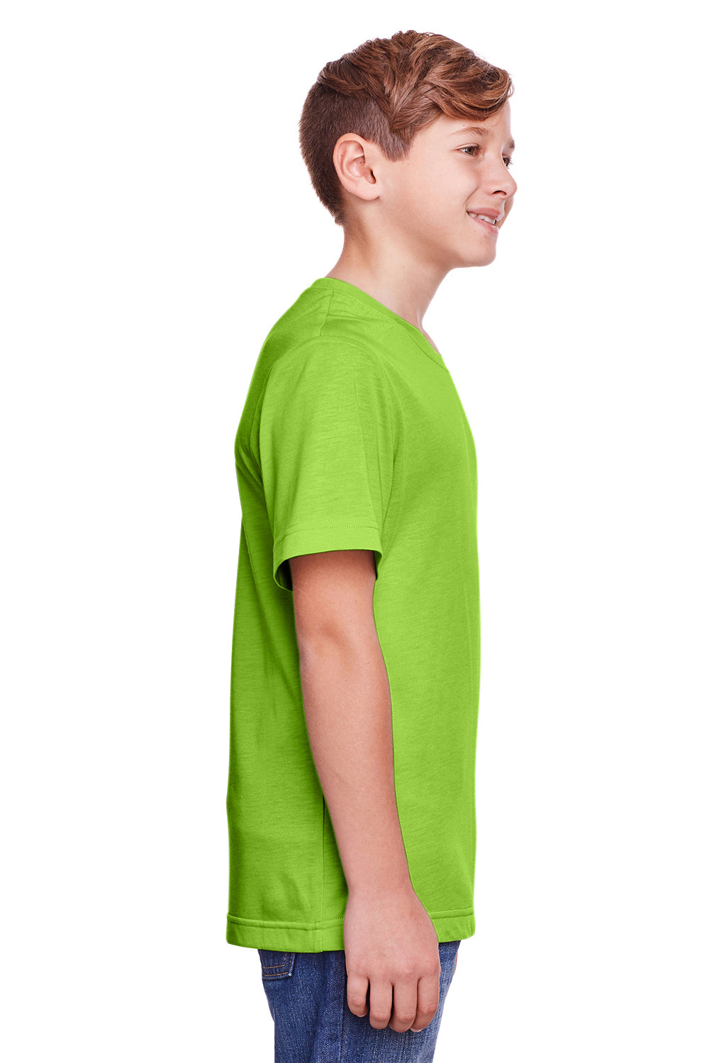 Core 365 CE111Y Youth Fusion ChromaSoft Performance Moisture Wicking Short Sleeve Crewneck T-Shirt Acid Green Side
