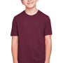 Core 365 Youth Fusion ChromaSoft Performance Moisture Wicking Short Sleeve Crewneck T-Shirt - Burgundy