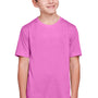 Core 365 Youth Fusion ChromaSoft Performance Moisture Wicking Short Sleeve Crewneck T-Shirt - Charity Pink