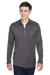 Core 365 CE401 Mens Kinetic Performance Moisture Wicking 1/4 Zip Sweatshirt Carbon Grey/Acid Green Front