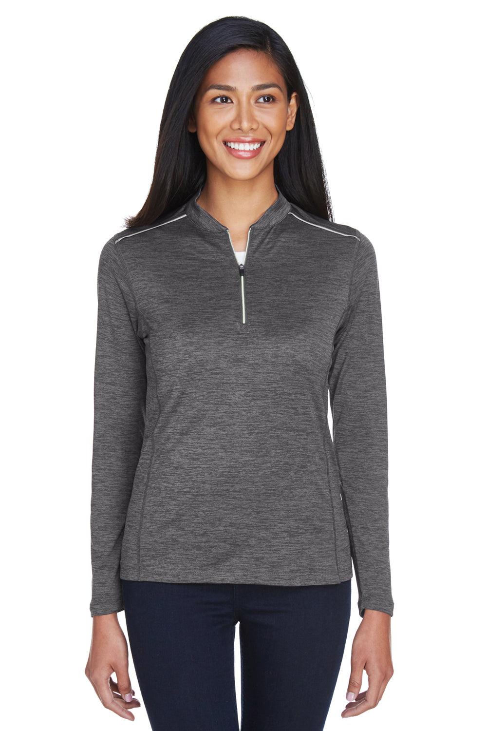 Core 365 CE401W Womens Kinetic Performance Moisture Wicking 1/4 Zip Sweatshirt Carbon Grey/Black Front