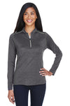 Core 365 CE401W Womens Kinetic Performance Moisture Wicking 1/4 Zip Sweatshirt Carbon Grey/Acid Green Front