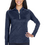 Core 365 Womens Kinetic Performance Moisture Wicking 1/4 Zip Sweatshirt - Classic Navy Blue/Carbon Grey
