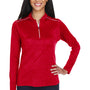 Core 365 Womens Kinetic Performance Moisture Wicking 1/4 Zip Sweatshirt - Classic Red/Carbon Grey