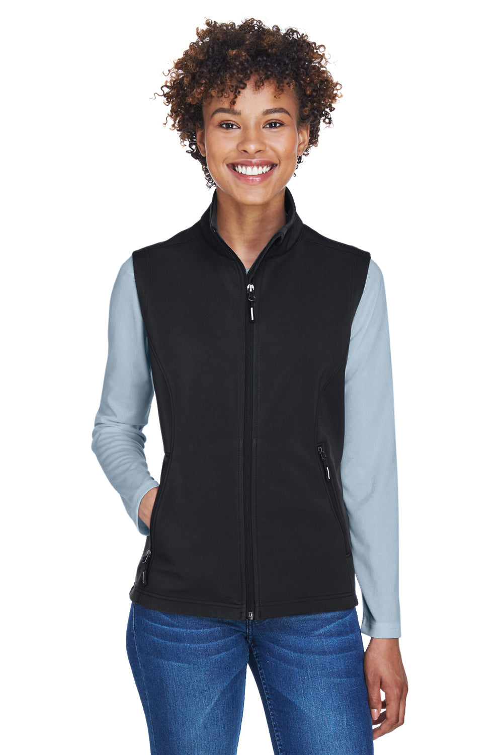 Core 365 CE701W Womens Cruise Water Resistant Full Zip Fleece Vest Black Front