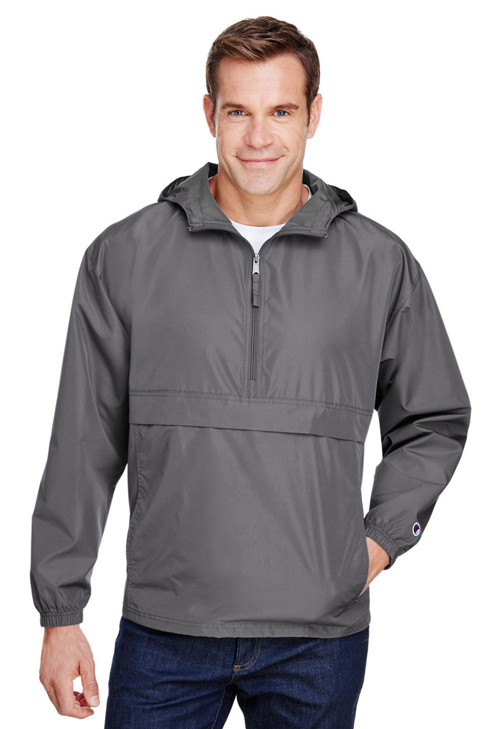 Champion CO200 Mens Packable Anorak 1/4 Zip Hooded Jacket Graphite Grey Front