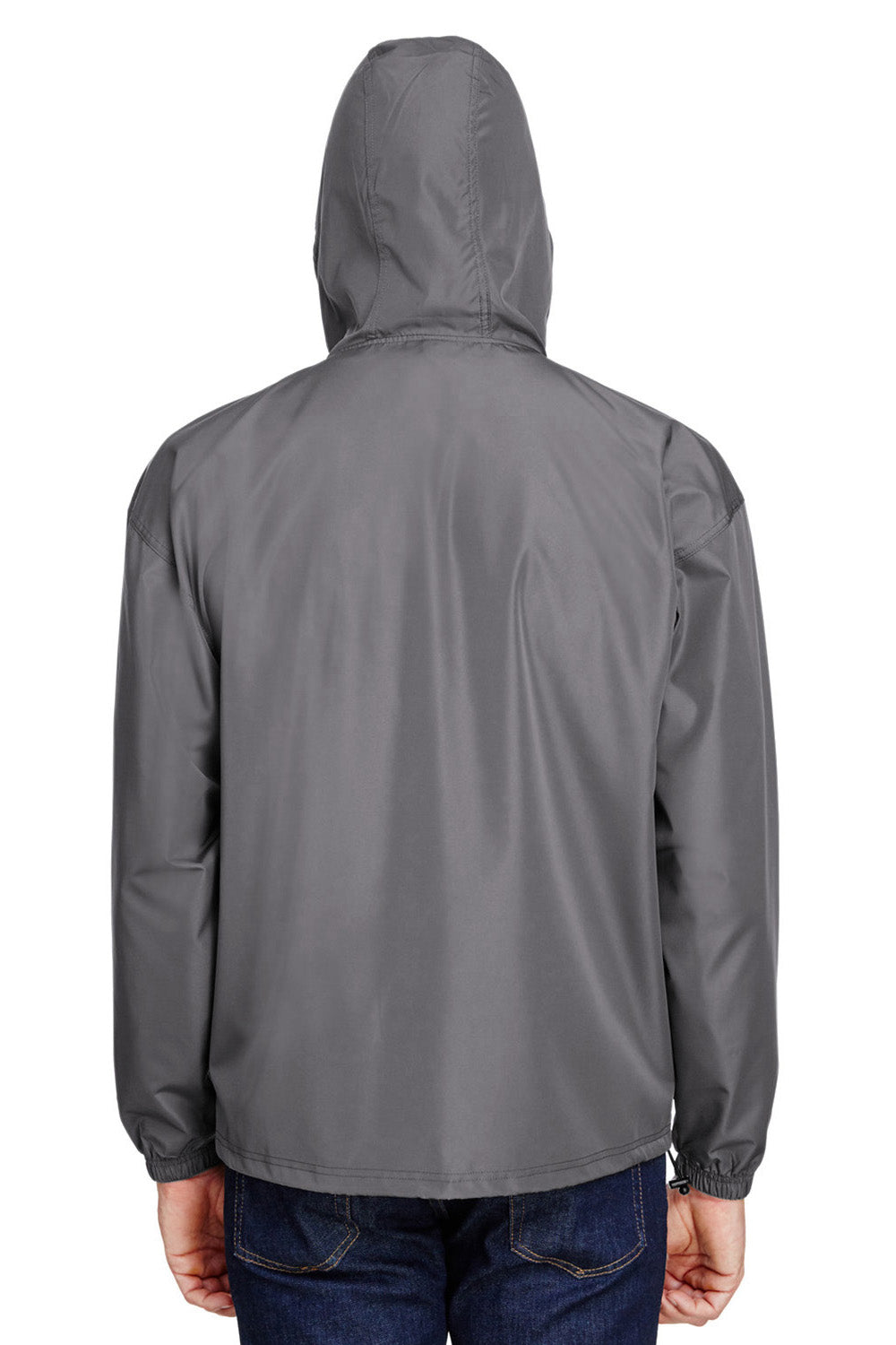 Champion CO200 Mens Packable Anorak 1/4 Zip Hooded Jacket Graphite Grey Back
