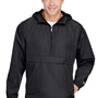 Champion Mens Packable Anorak 1/4 Zip Hooded Jacket - Black