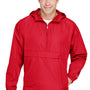 Champion Mens Packable Anorak 1/4 Zip Hooded Jacket - Scarlet Red