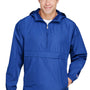 Champion Mens Packable Anorak 1/4 Zip Hooded Jacket - Athletic Royal Blue