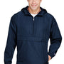 Champion Mens Packable Anorak 1/4 Zip Hooded Jacket - Navy Blue