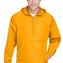 Champion Mens Packable Anorak 1/4 Zip Hooded Jacket - Gold