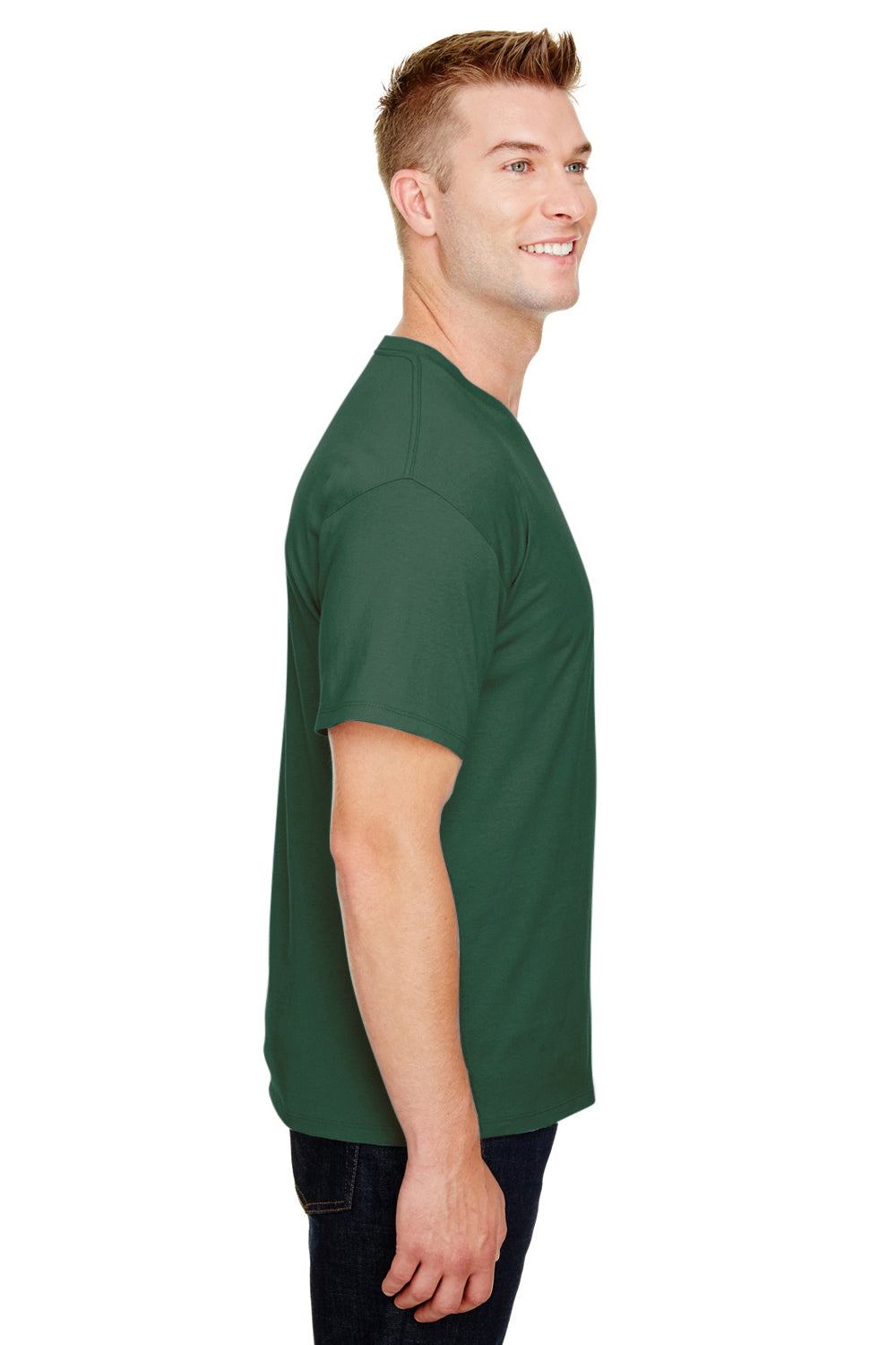 Champion CP10 Mens Short Sleeve Crewneck T-Shirt Dark Green Side