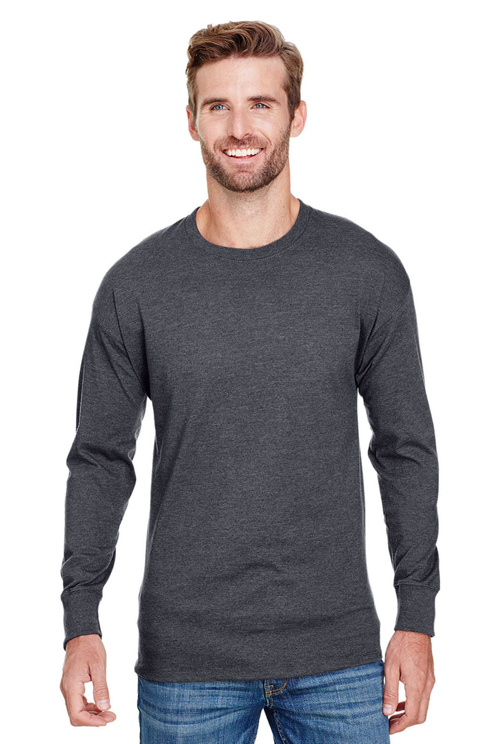 Champion CP15 Mens Long Sleeve Crewneck T-Shirt Heather Charcoal Grey Front