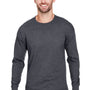 Champion Mens Long Sleeve Crewneck T-Shirt - Heather Charcoal Grey