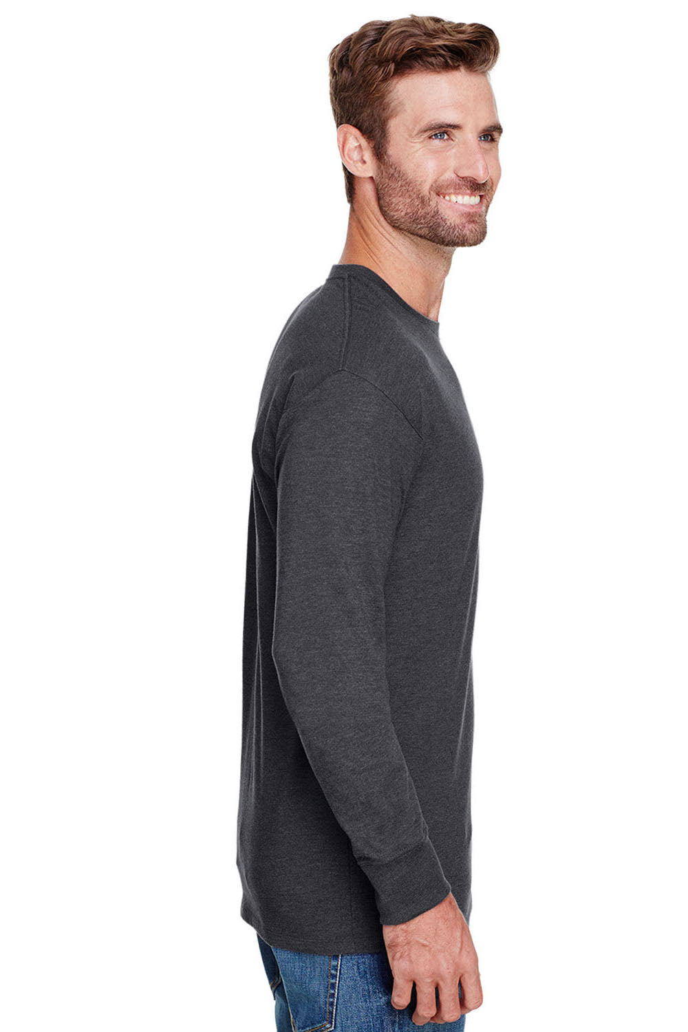 Champion CP15 Mens Long Sleeve Crewneck T-Shirt Heather Charcoal Grey Side