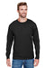 Champion CP15 Mens Long Sleeve Crewneck T-Shirt Black Front
