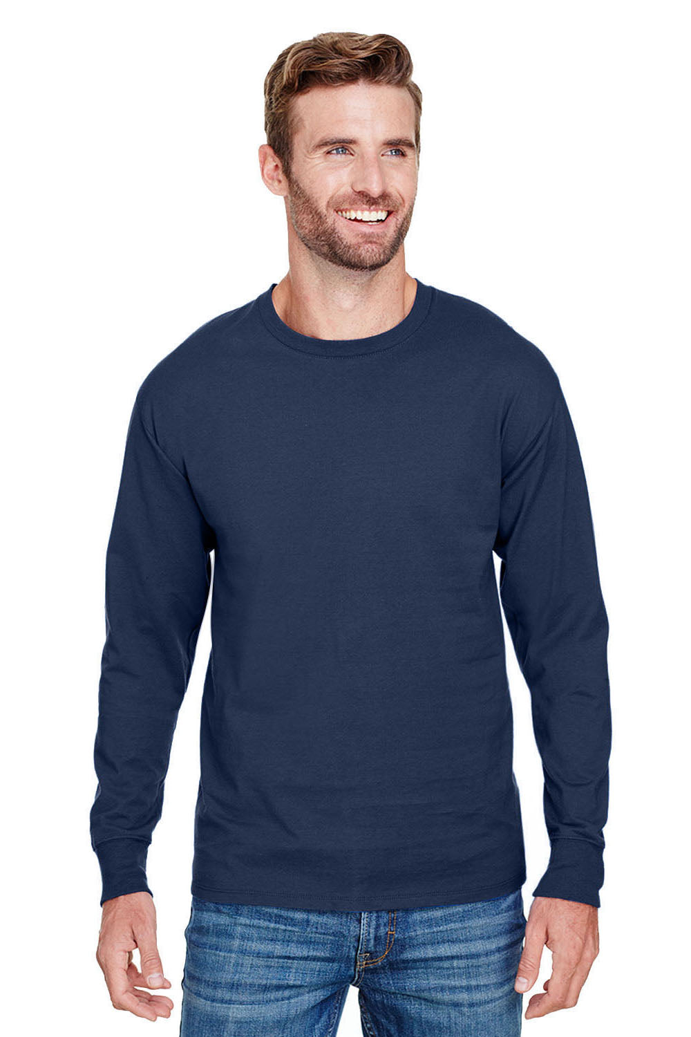 Champion CP15 Mens Long Sleeve Crewneck T-Shirt Navy Blue Front