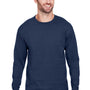 Champion Mens Long Sleeve Crewneck T-Shirt - Navy Blue