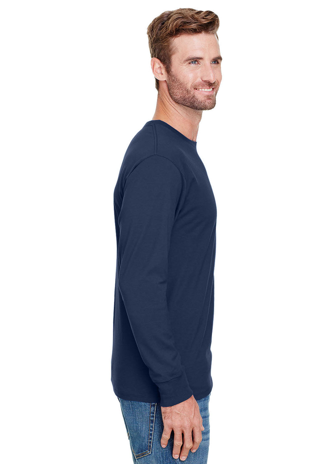 Champion CP15 Mens Long Sleeve Crewneck T-Shirt Navy Blue Side