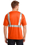 CornerStone CS401 Mens Moisture Wicking Short Sleeve Crewneck T-Shirt w/ Pocket Safety Orange Back