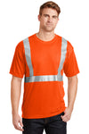 CornerStone CS401 Mens Moisture Wicking Short Sleeve Crewneck T-Shirt w/ Pocket Safety Orange Front