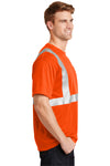 CornerStone CS401 Mens Moisture Wicking Short Sleeve Crewneck T-Shirt w/ Pocket Safety Orange Side