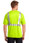 CornerStone CS401 Mens Moisture Wicking Short Sleeve Crewneck T-Shirt w/ Pocket Safety Yellow Back