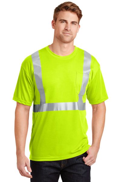 CornerStone CS401 Mens Moisture Wicking Short Sleeve Crewneck T-Shirt w/ Pocket Safety Yellow Front