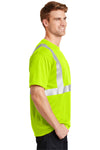 CornerStone CS401 Mens Moisture Wicking Short Sleeve Crewneck T-Shirt w/ Pocket Safety Yellow Side