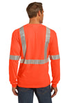 CornerStone CS401LS Mens Moisture Wicking Long Sleeve Crewneck T-Shirt w/ Pocket Safety Orange Back