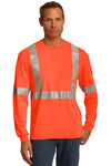 CornerStone CS401LS Mens Moisture Wicking Long Sleeve Crewneck T-Shirt w/ Pocket Safety Orange Front