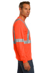 CornerStone CS401LS Mens Moisture Wicking Long Sleeve Crewneck T-Shirt w/ Pocket Safety Orange Side