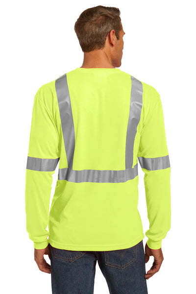 CornerStone CS401LS Mens Moisture Wicking Long Sleeve Crewneck T-Shirt w/ Pocket Safety Yellow Back