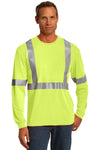 CornerStone CS401LS Mens Moisture Wicking Long Sleeve Crewneck T-Shirt w/ Pocket Safety Yellow Front