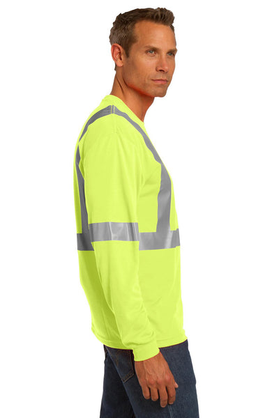 CornerStone CS401LS Mens Moisture Wicking Long Sleeve Crewneck T-Shirt w/ Pocket Safety Yellow Side