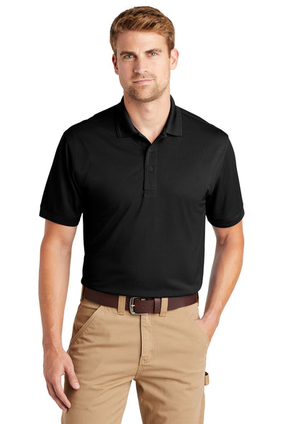 CornerStone CS4020 Mens Industrial Moisture Wicking Short Sleeve Polo Shirt Black Front