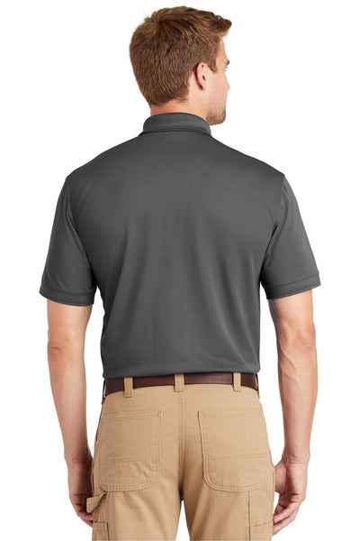 CornerStone CS4020 Mens Industrial Moisture Wicking Short Sleeve Polo Shirt Charcoal Grey Back