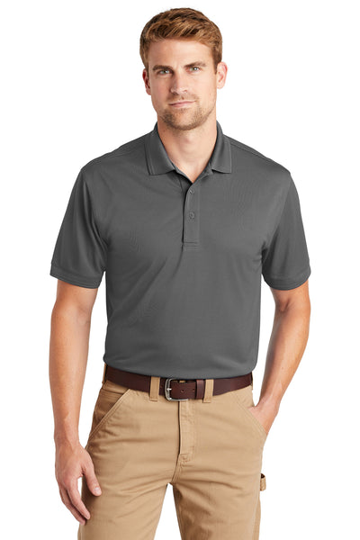 CornerStone CS4020 Mens Industrial Moisture Wicking Short Sleeve Polo Shirt Charcoal Grey Front