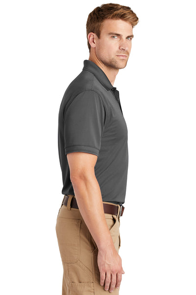 CornerStone CS4020 Mens Industrial Moisture Wicking Short Sleeve Polo Shirt Charcoal Grey Side