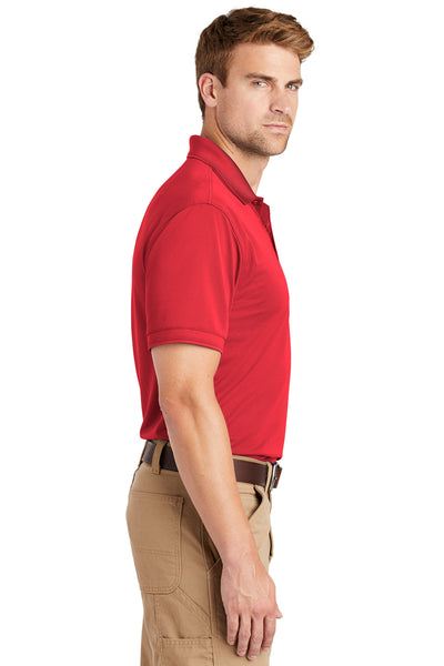 CornerStone CS4020 Mens Industrial Moisture Wicking Short Sleeve Polo Shirt Red Side