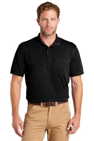 CornerStone CS4020P Mens Industrial Moisture Wicking Short Sleeve Polo Shirt w/ Pocket Black Front