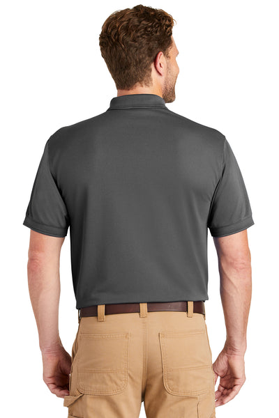 CornerStone CS4020P Mens Industrial Moisture Wicking Short Sleeve Polo Shirt w/ Pocket Charcoal Grey Back