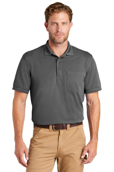 CornerStone CS4020P Mens Industrial Moisture Wicking Short Sleeve Polo Shirt w/ Pocket Charcoal Grey Front