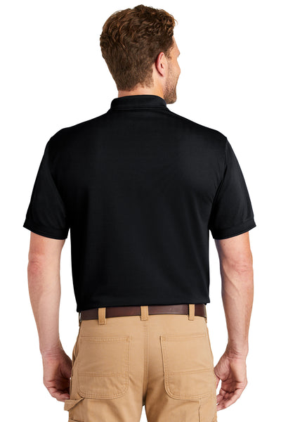 CornerStone CS4020P Mens Industrial Moisture Wicking Short Sleeve Polo Shirt w/ Pocket Navy Blue Back