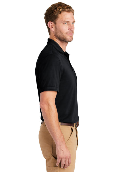 CornerStone CS4020P Mens Industrial Moisture Wicking Short Sleeve Polo Shirt w/ Pocket Navy Blue Side
