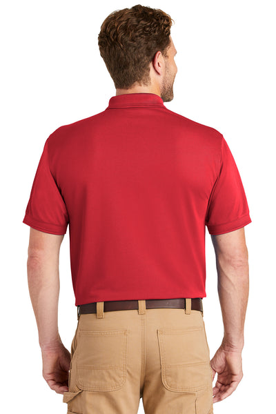 CornerStone CS4020P Mens Industrial Moisture Wicking Short Sleeve Polo Shirt w/ Pocket Red Back